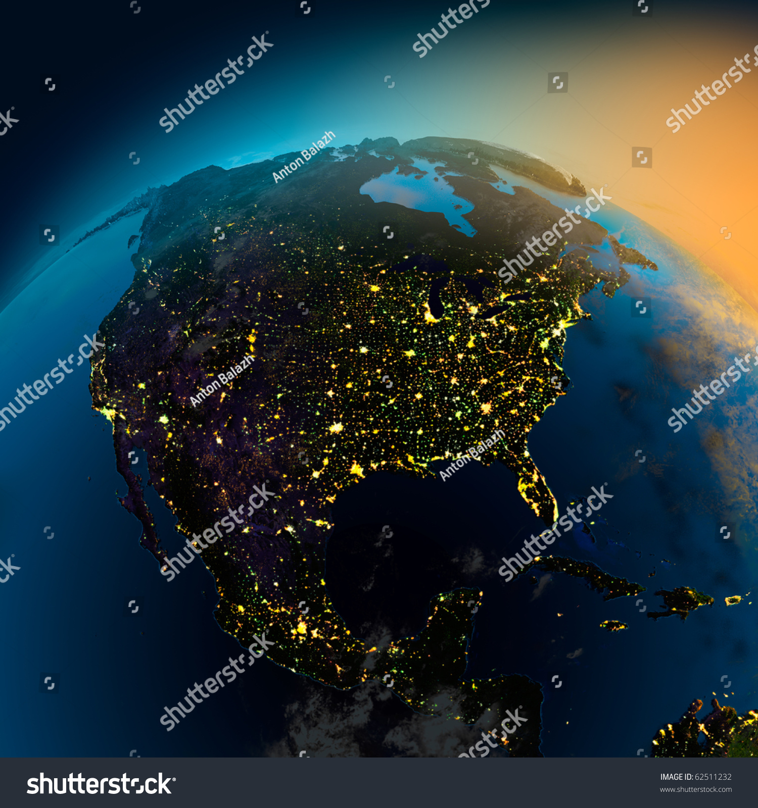 Night View North America Satellite Glowing Stock Illustration - North america satellite image