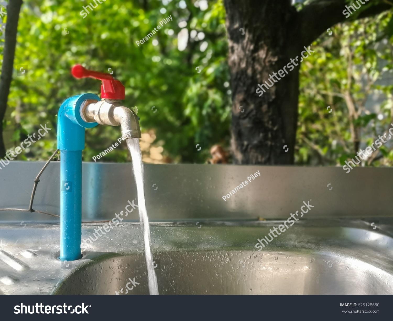 Selective Focus Faucet Wash Basin Garden Stock Photo (Royalty Free ...