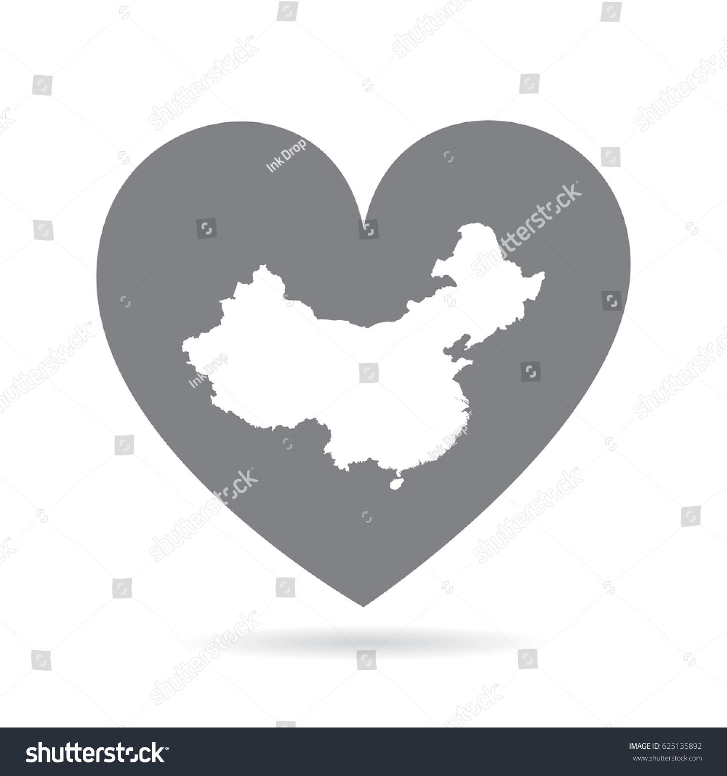 China heart heart shape icon white stock vector 625135892 china heart heart shape icon with white map buycottarizona