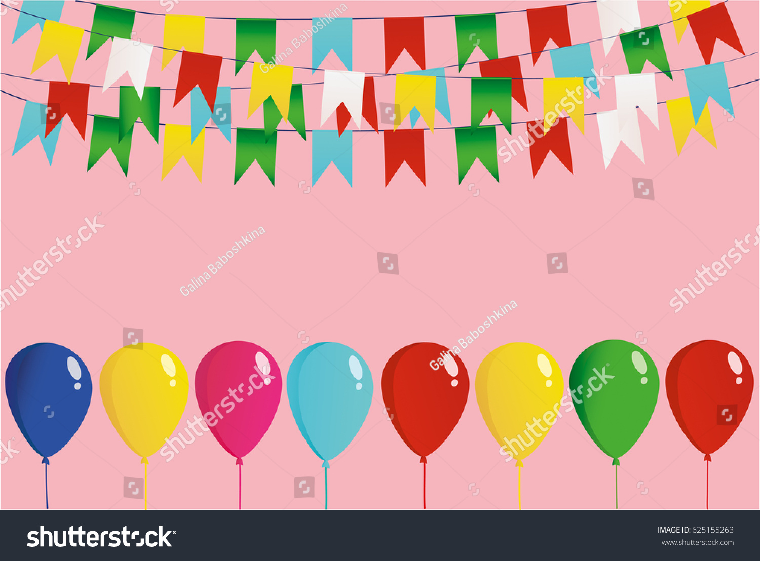 Colorful Oatmeal On Rope Balloons Garland Stock Vector 625155263 ...