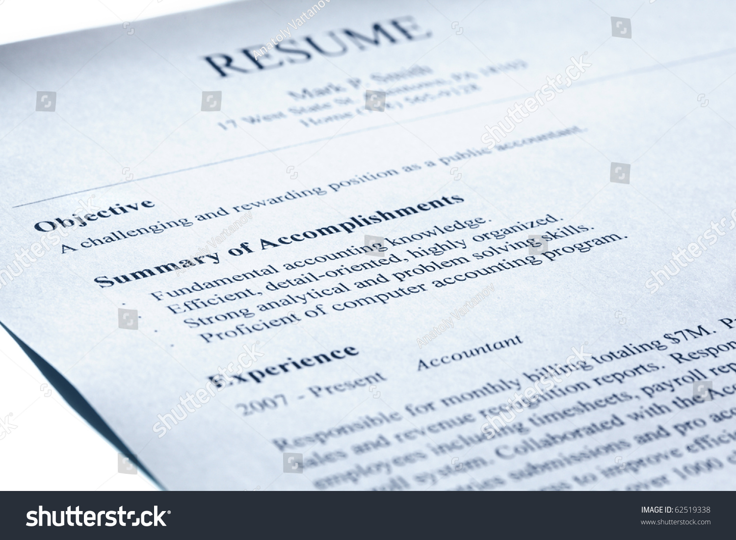 Account Manager Resume Form Title Page Stock Photo 62519338