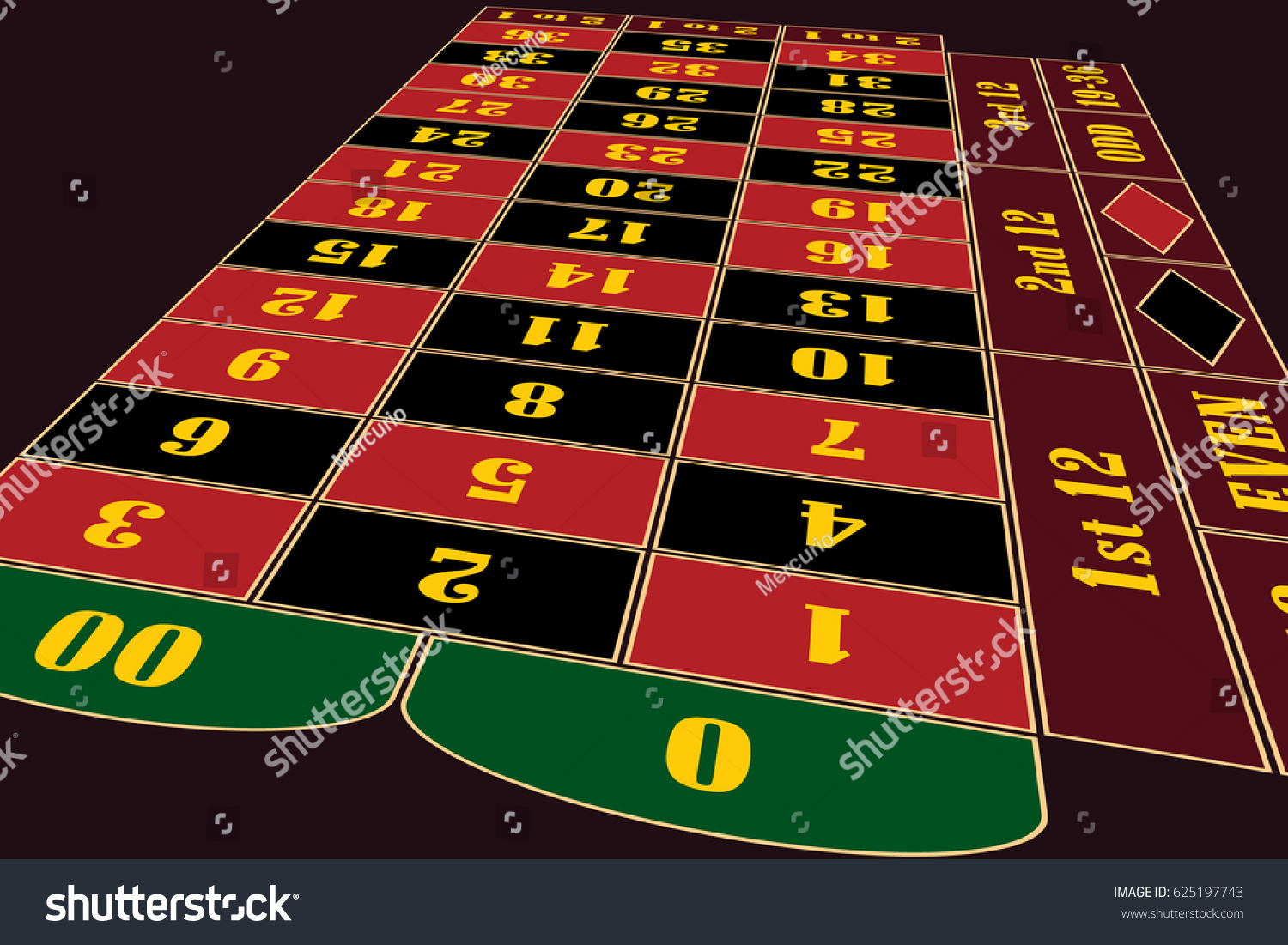 Traditional european roulette table vector illustration stock vector - Traditional American Roulette Table Perspective Vector Illustration