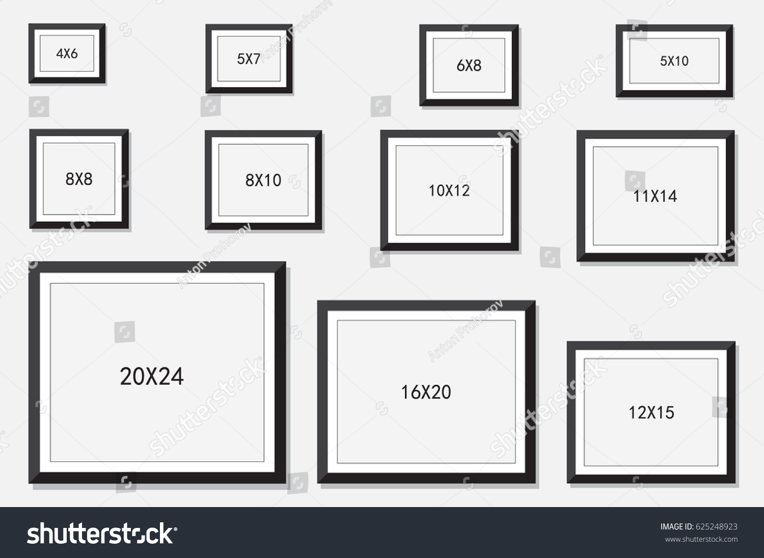 Photo Picture Frame Size Stock Vector 625248923 - Shutterstock