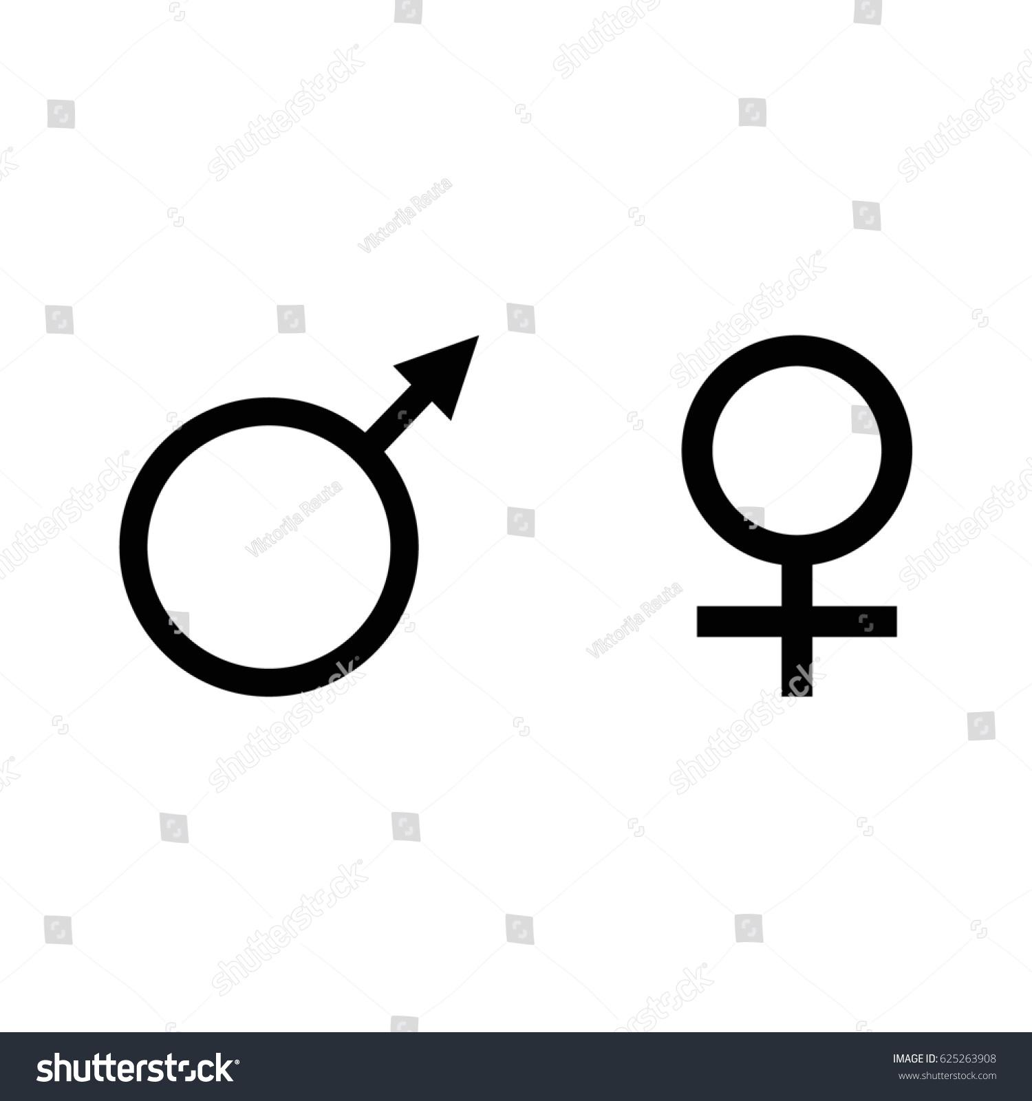 Raster Illustration Male Female Symbol Set Stock Illustration