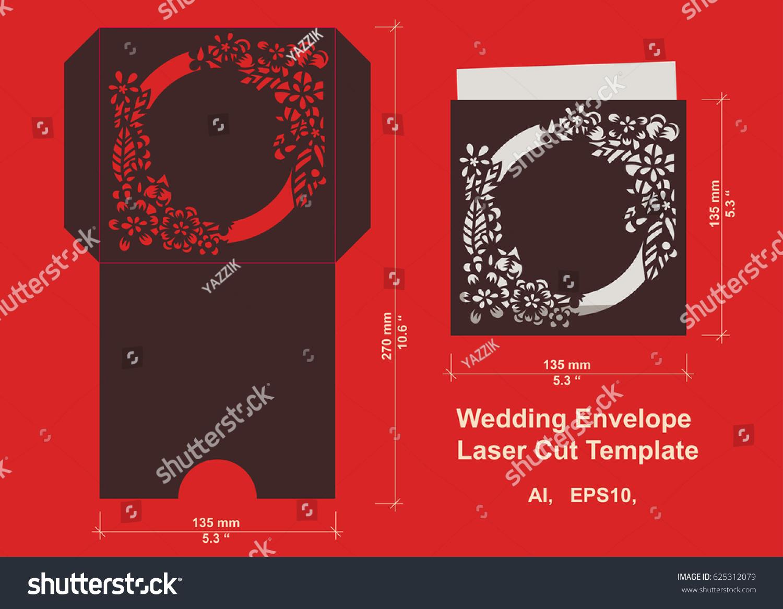 Laser Cut Flower Pattern Wedding Invitation Stock Vector (Royalty ...