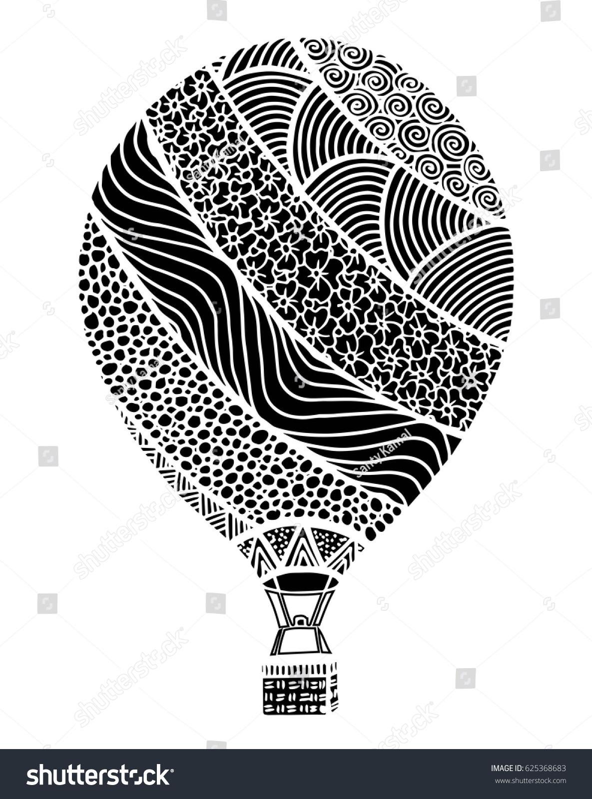 Hot Air Balloon Vector Zentangle Doodle Stock Vector 625368683 ...