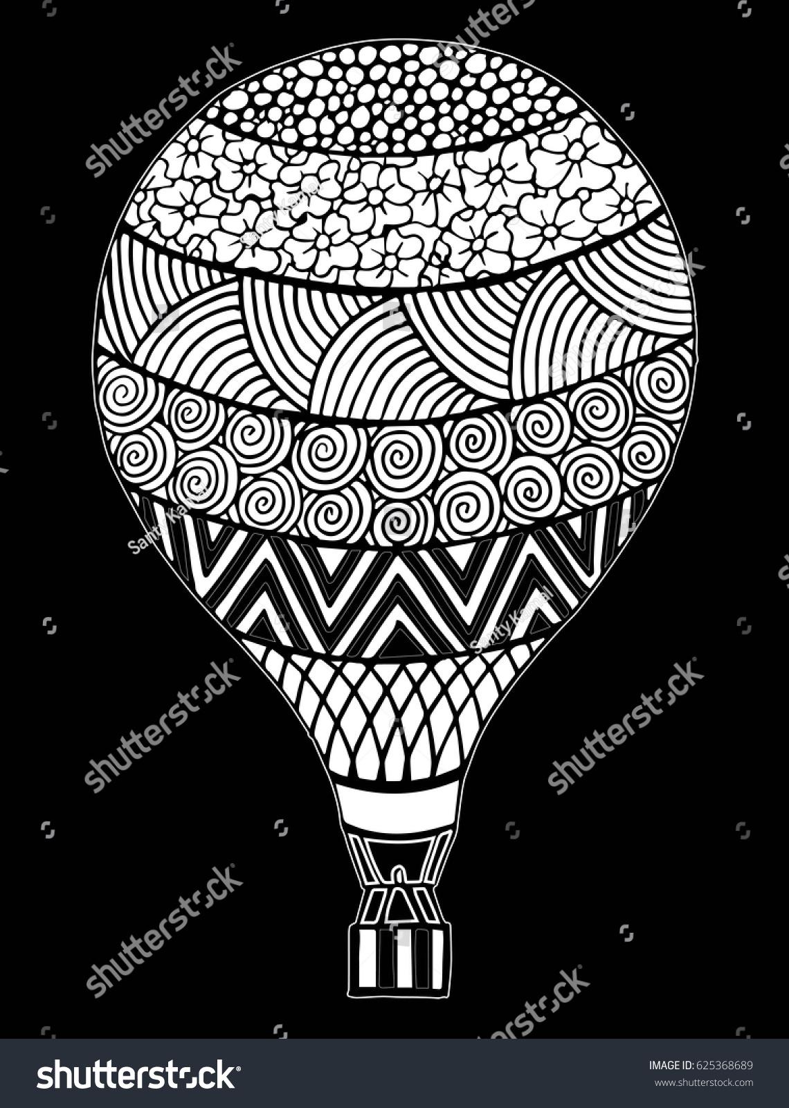 Hot Air Balloon Vector Zentangle Doodle Stock Vector 625368689 ...