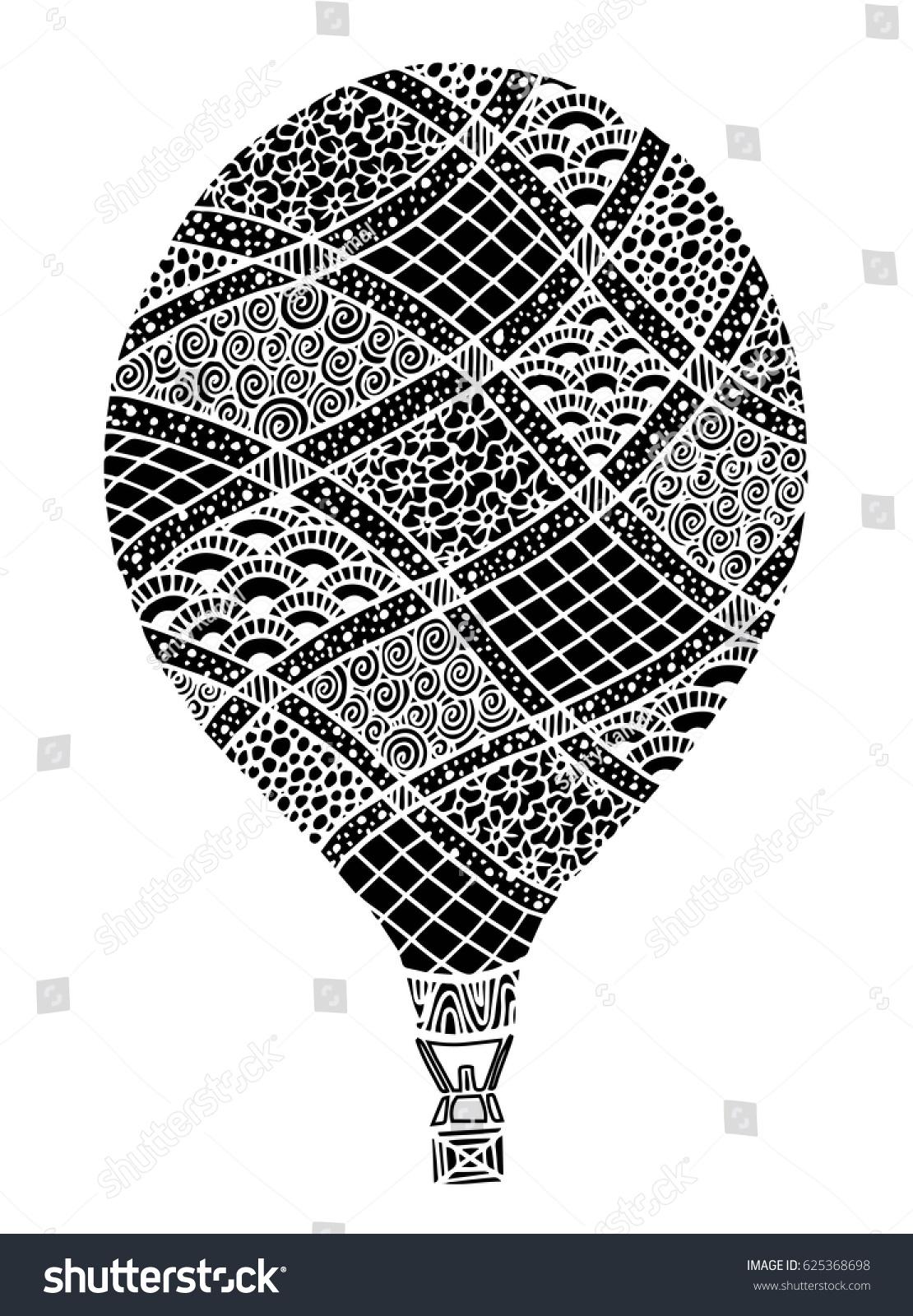 Hot Air Balloon Vector Zentangle Doodle Stock Vector 625368698 ...