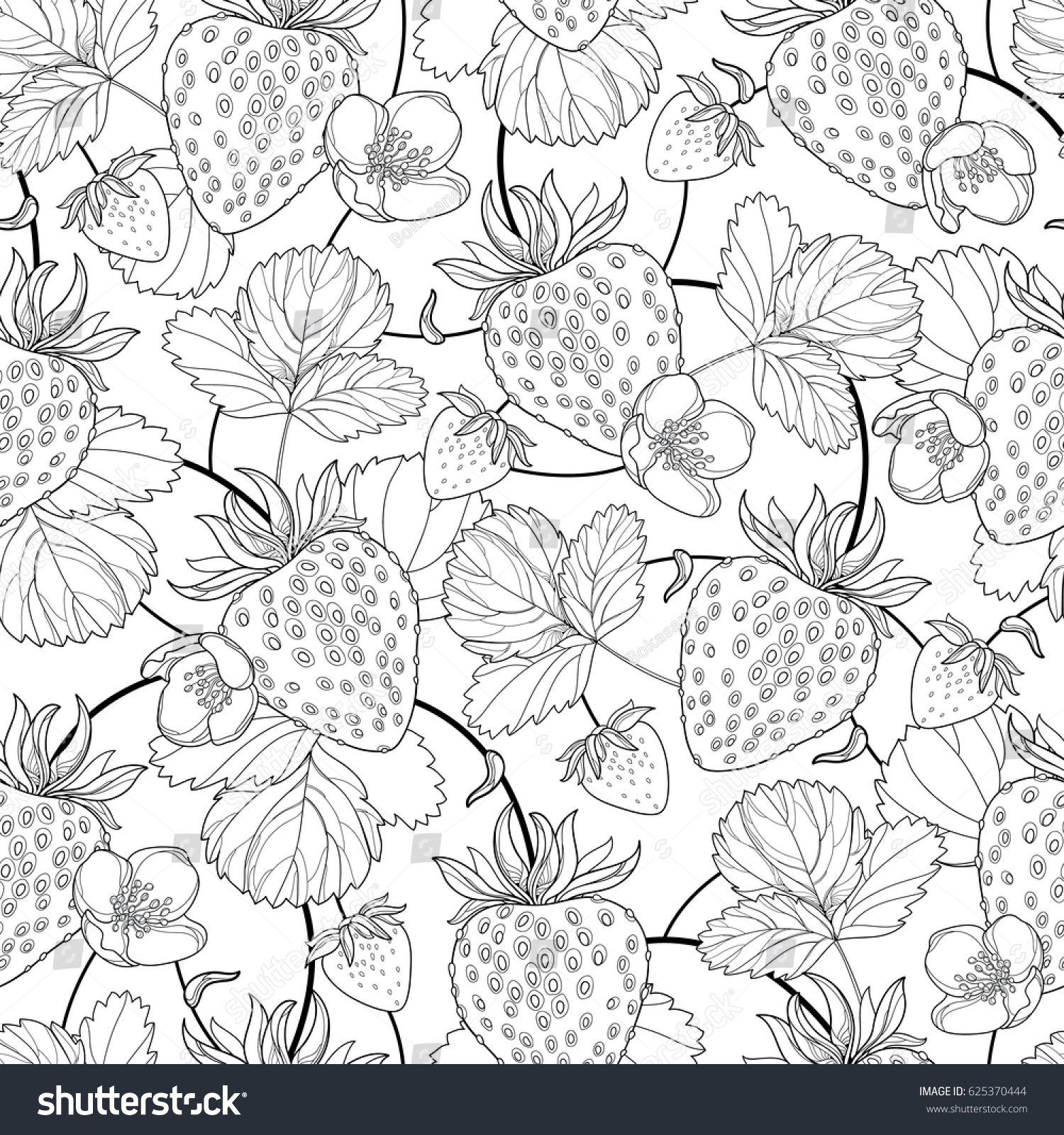 vector seamless pattern outline strawberry berry stock vector