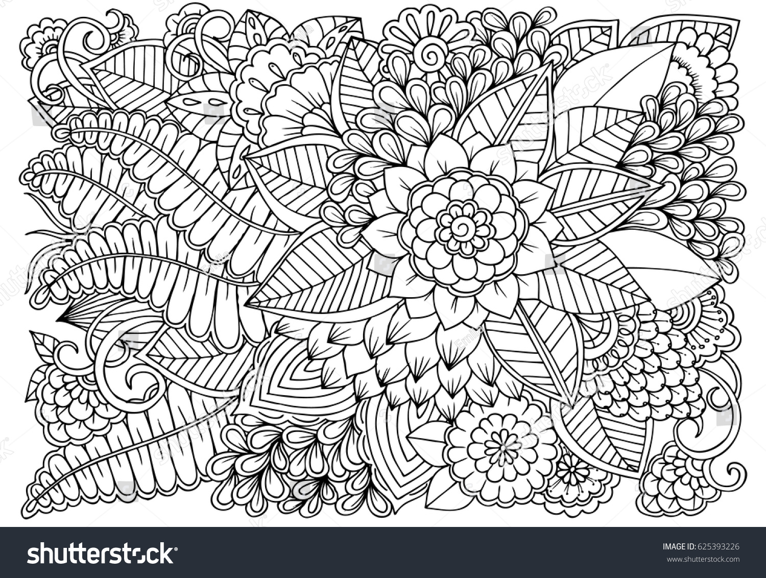 black white flower pattern coloring stock vector 625393226