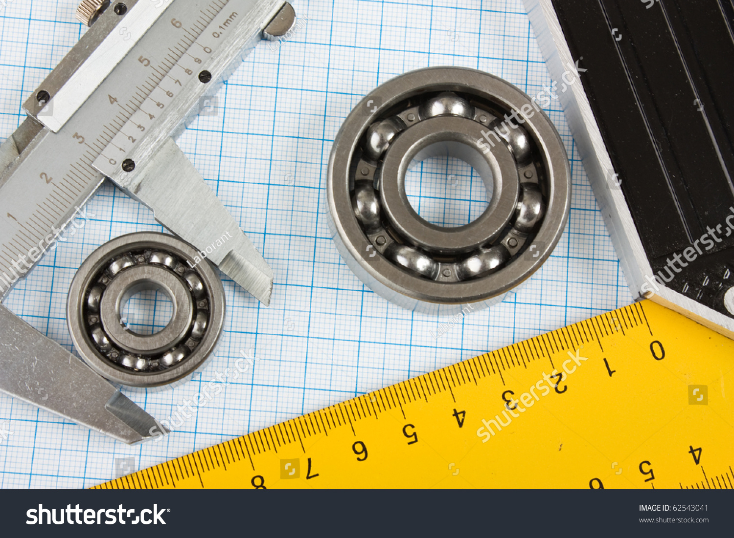 setsquare calliper bearing on graph paper stock photo edit now