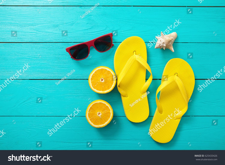 Yellow Flip Flops Red Sunglasses Shell Foto de stock (libre de ...