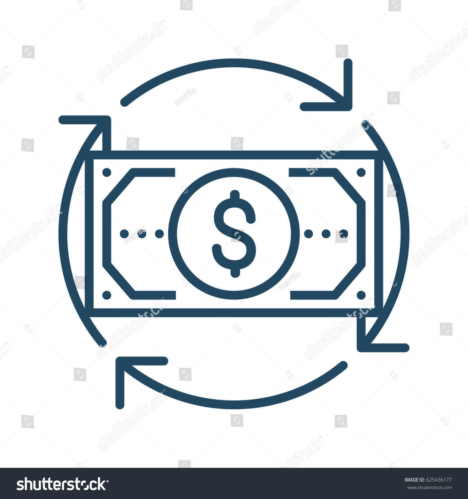 Circle arrows around dollar bill vector stock vector 625436177 circle arrows around dollar bill vector icon in meaning money flow biocorpaavc Images