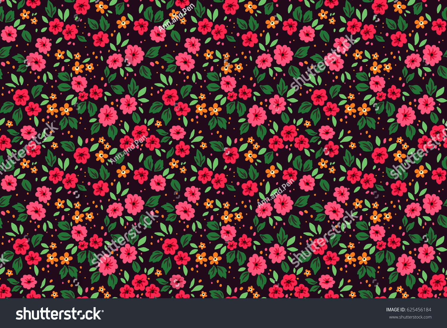 Floral pattern pretty flowers on dark stock vector royalty free floral pattern pretty flowers on dark violet background printing with small red flowers mightylinksfo