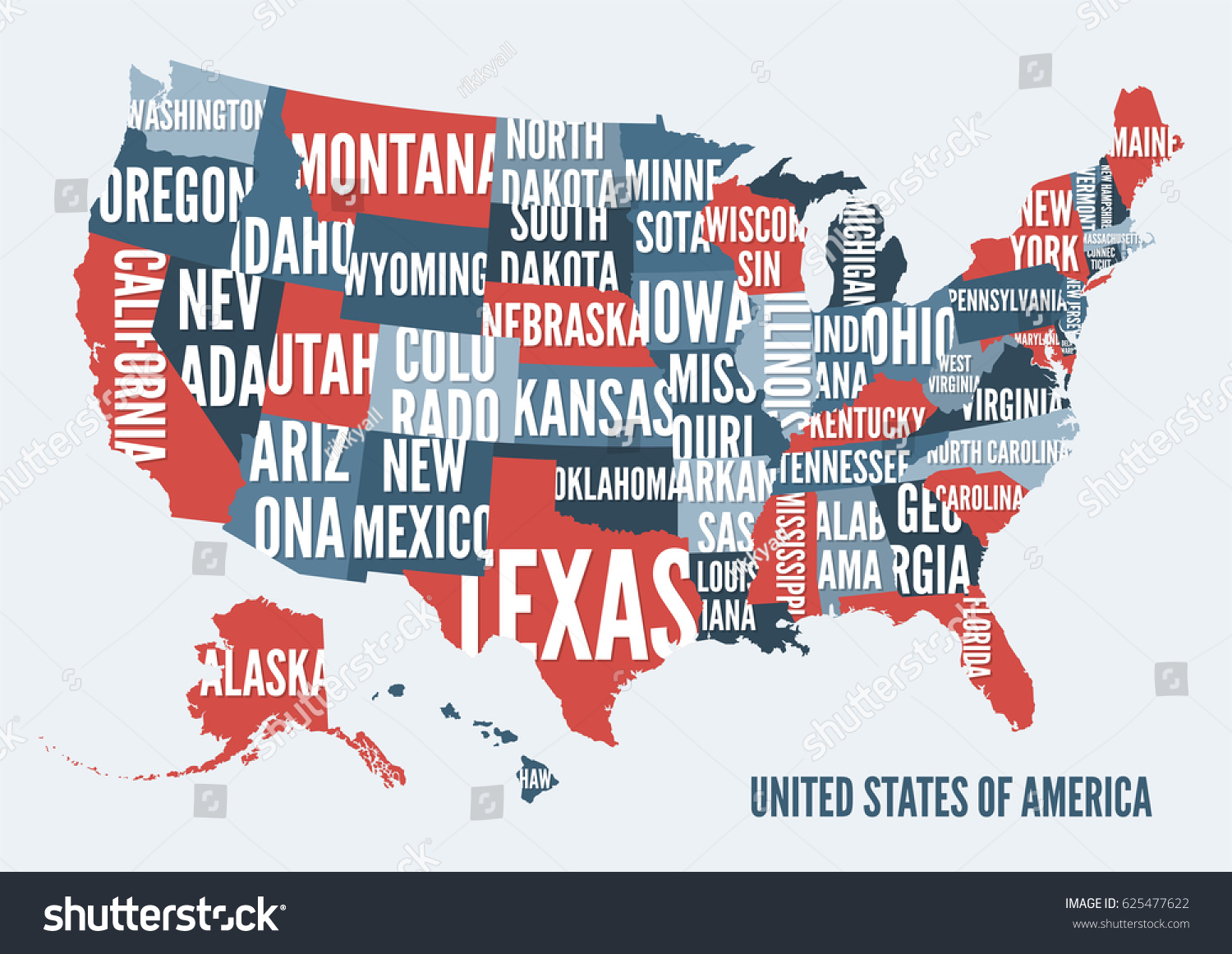 United States Of America Map Print Poster Design Vector Ilration