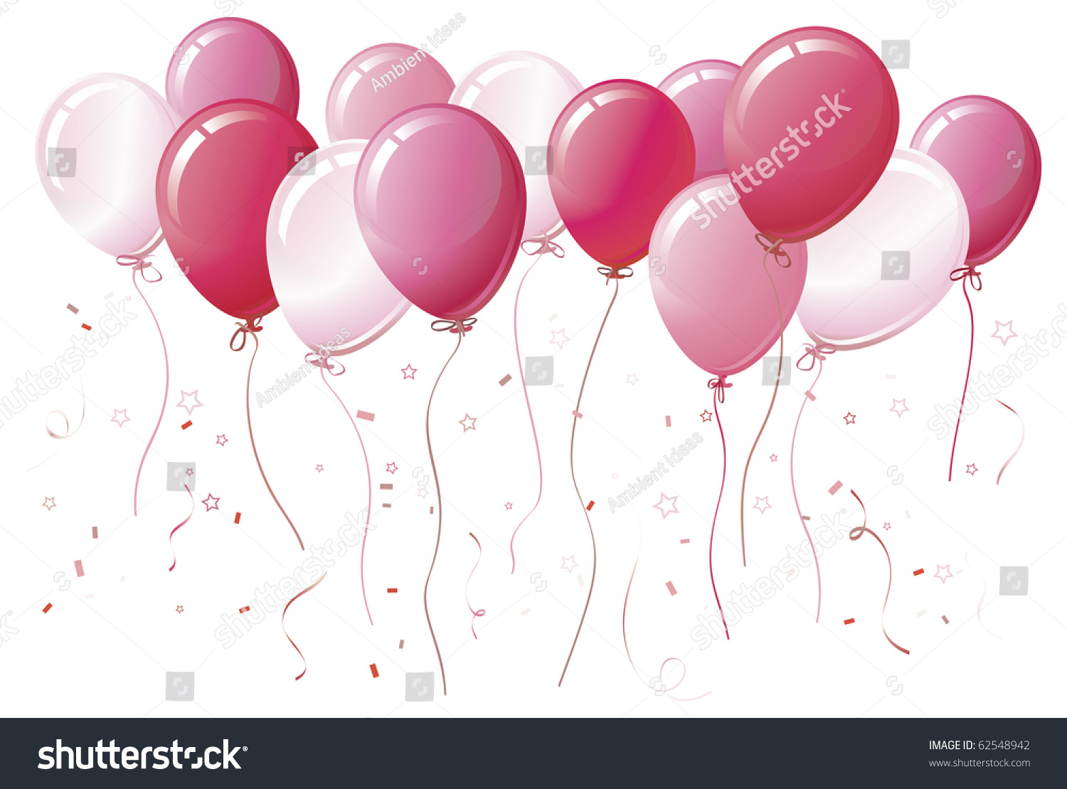 pink balloons floating together colorcoordinated ribbons stock