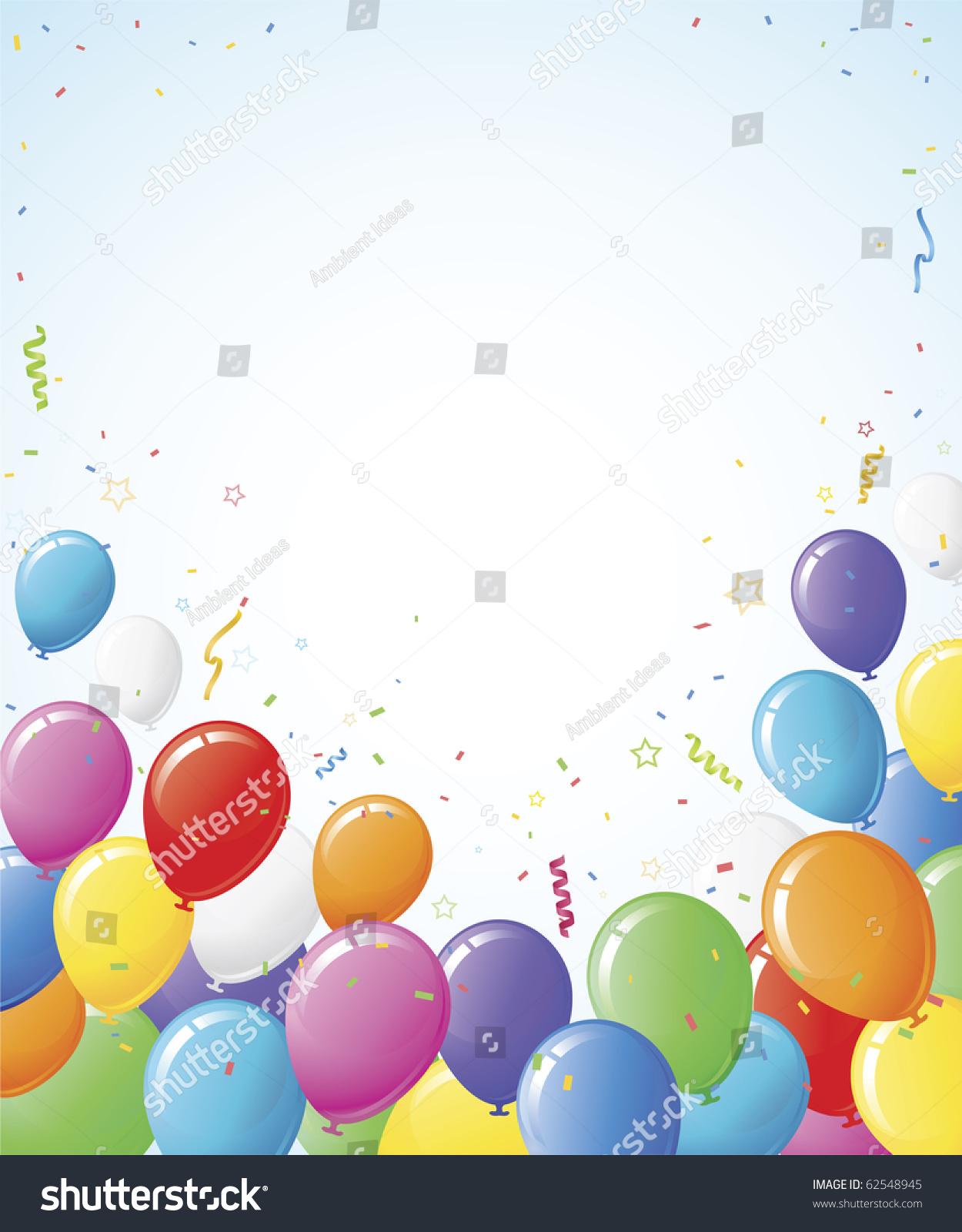 Party Balloon Background Border Design Copy Stock Vector ...