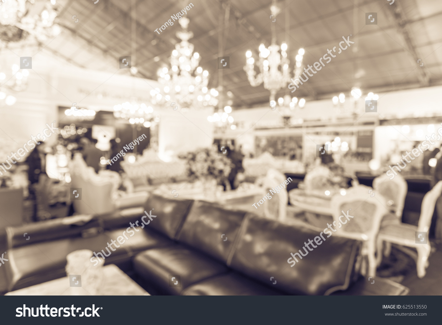 Blurred furniture exhibition expo in hanoi vietnam abstract bokeh background of modern interior