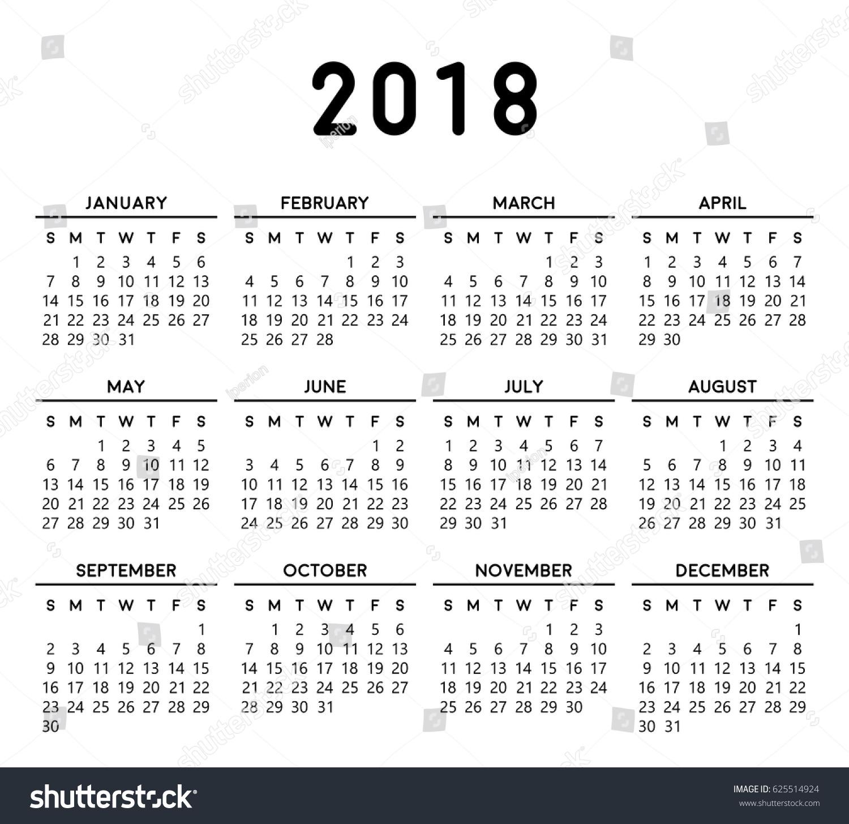 calendar 2018 basic design editable vector stock vector royalty