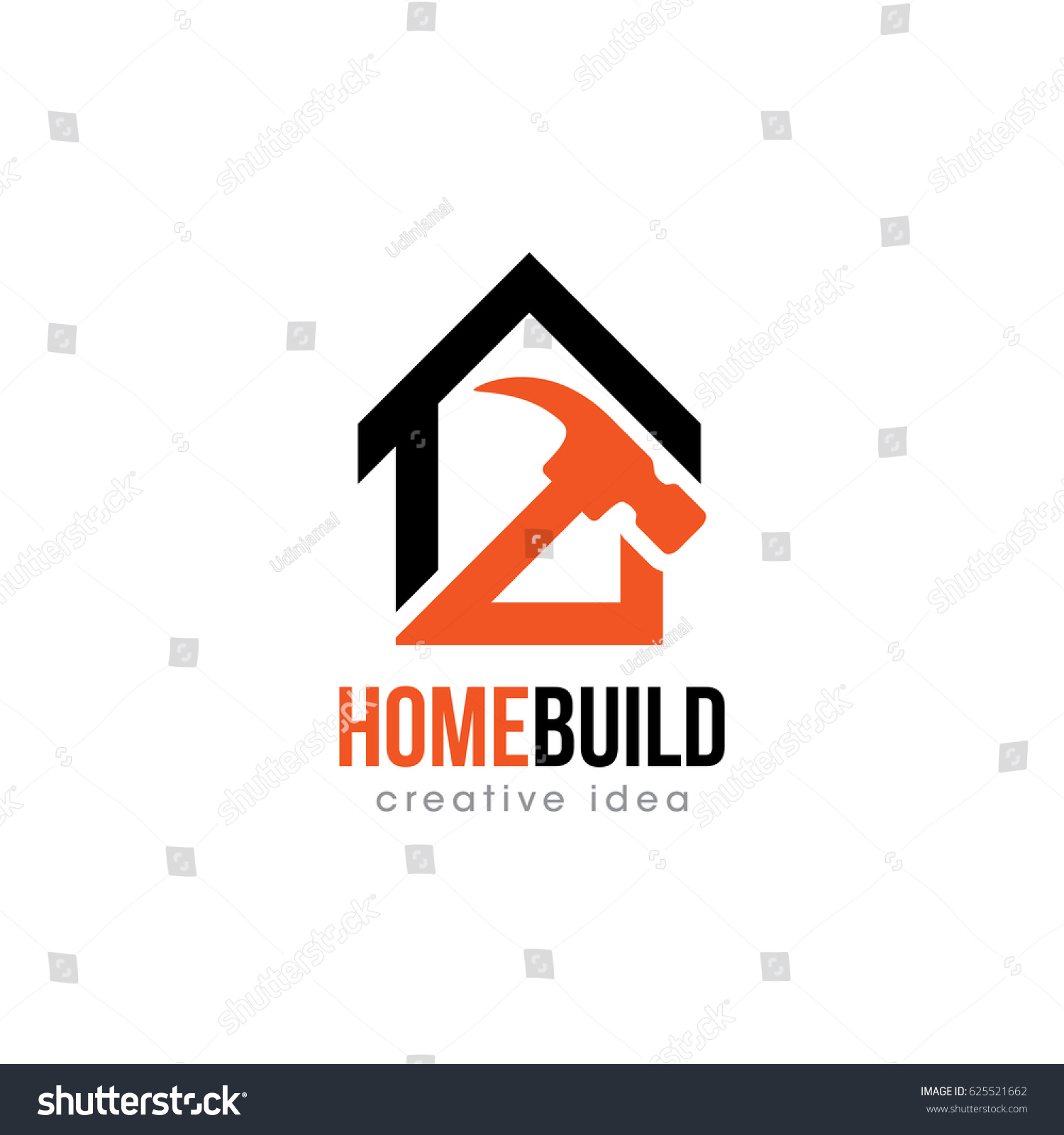 Creative Home Construction Concept Logo Design Stock Vector ...