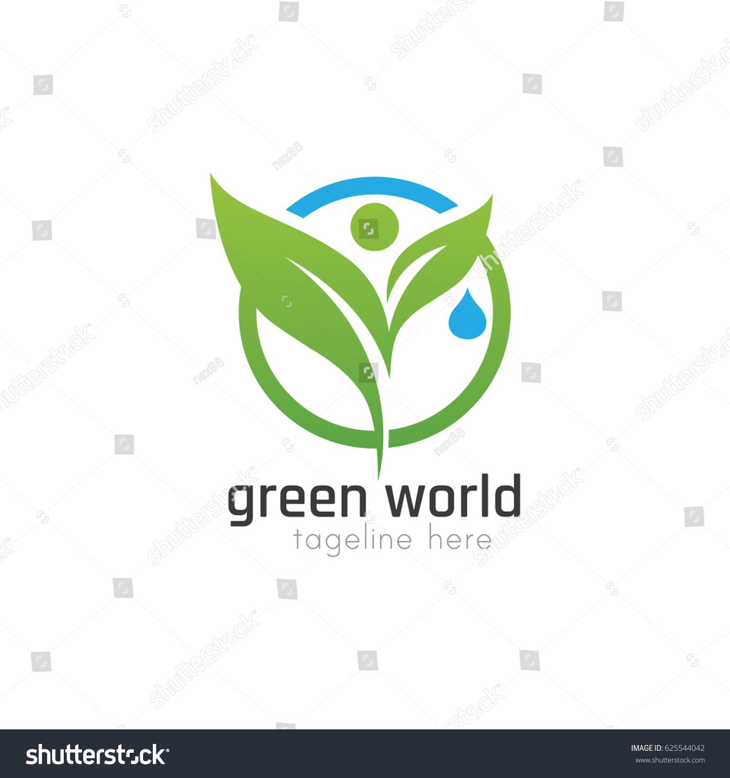 Vector Illustration Green World Logo Design Stock Vector Royalty