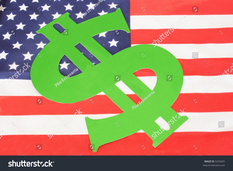 Green dollar symbol on american flag stock photo 6255601 green dollar symbol on american flag biocorpaavc