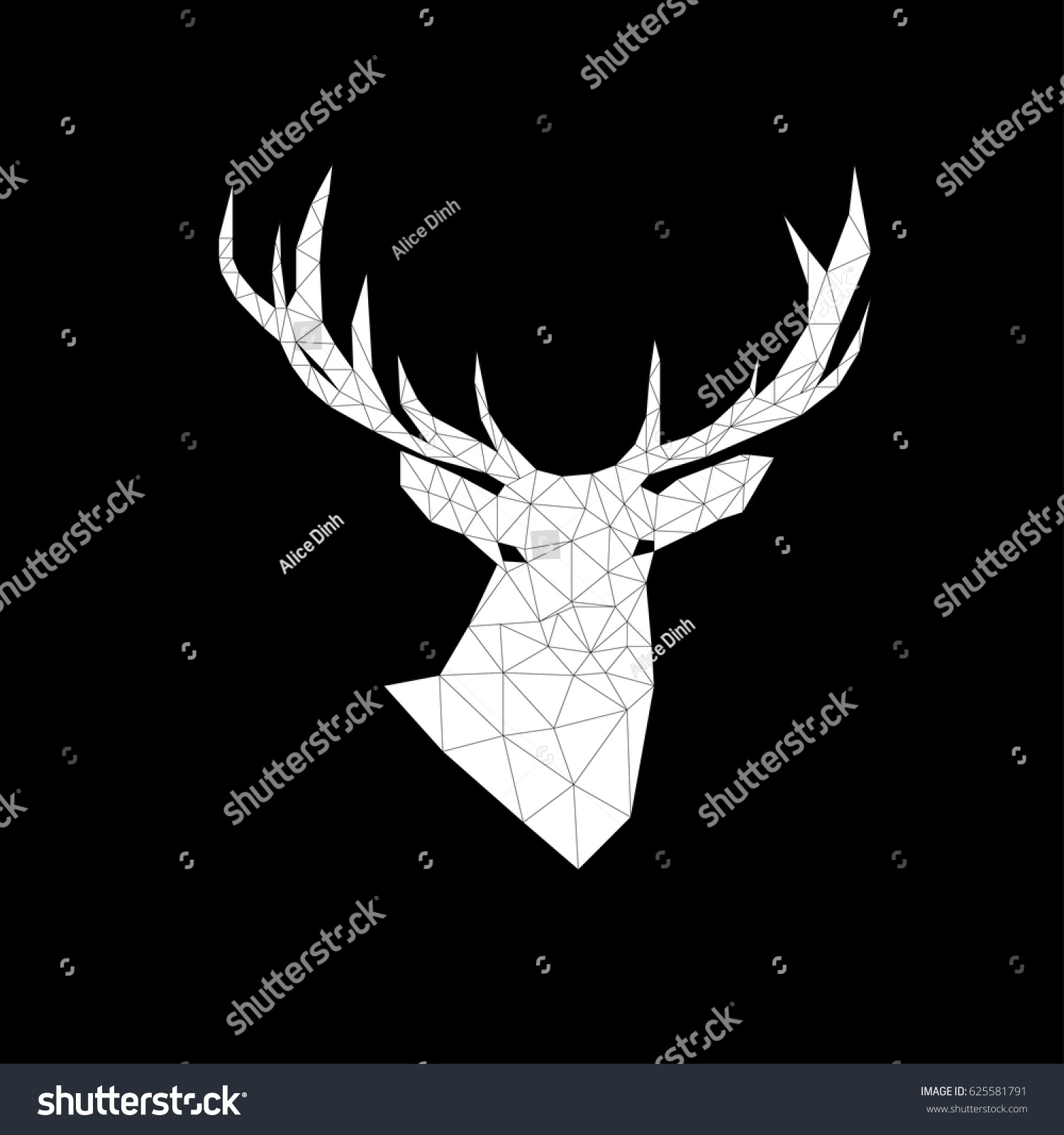 deer polygon triangles vector black and white deer head