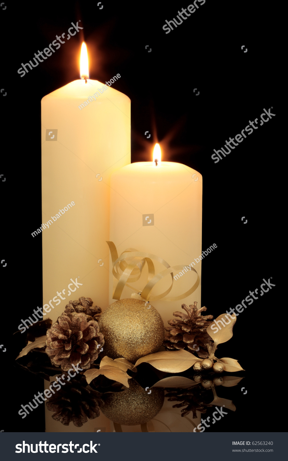 Pine Cone Candles Christmas Table Decoration Lit Candles Golden Stock Photo 62563240