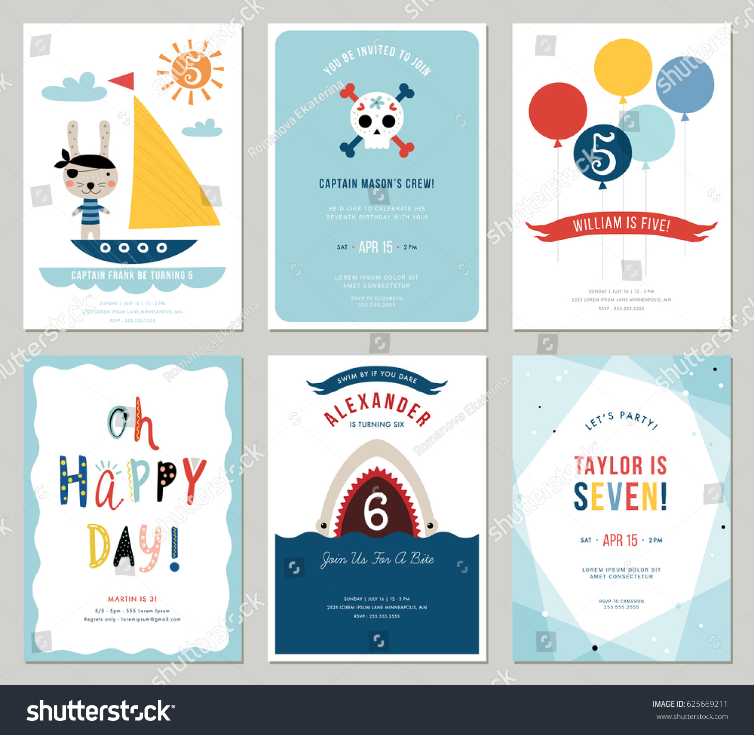 Birthday Boy Invitation Cards Set Colorful Miscellaneous