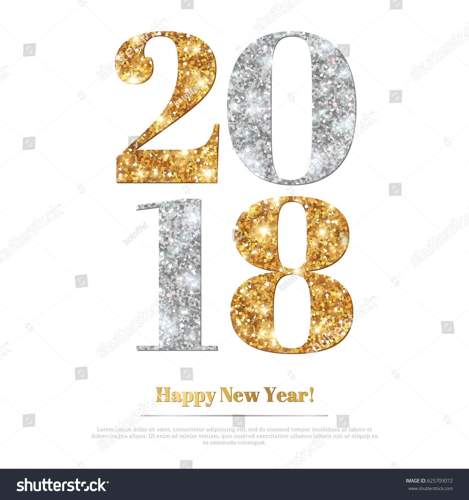 happy new year 2018 greeting card with gold and silver numbers vector illustration merry