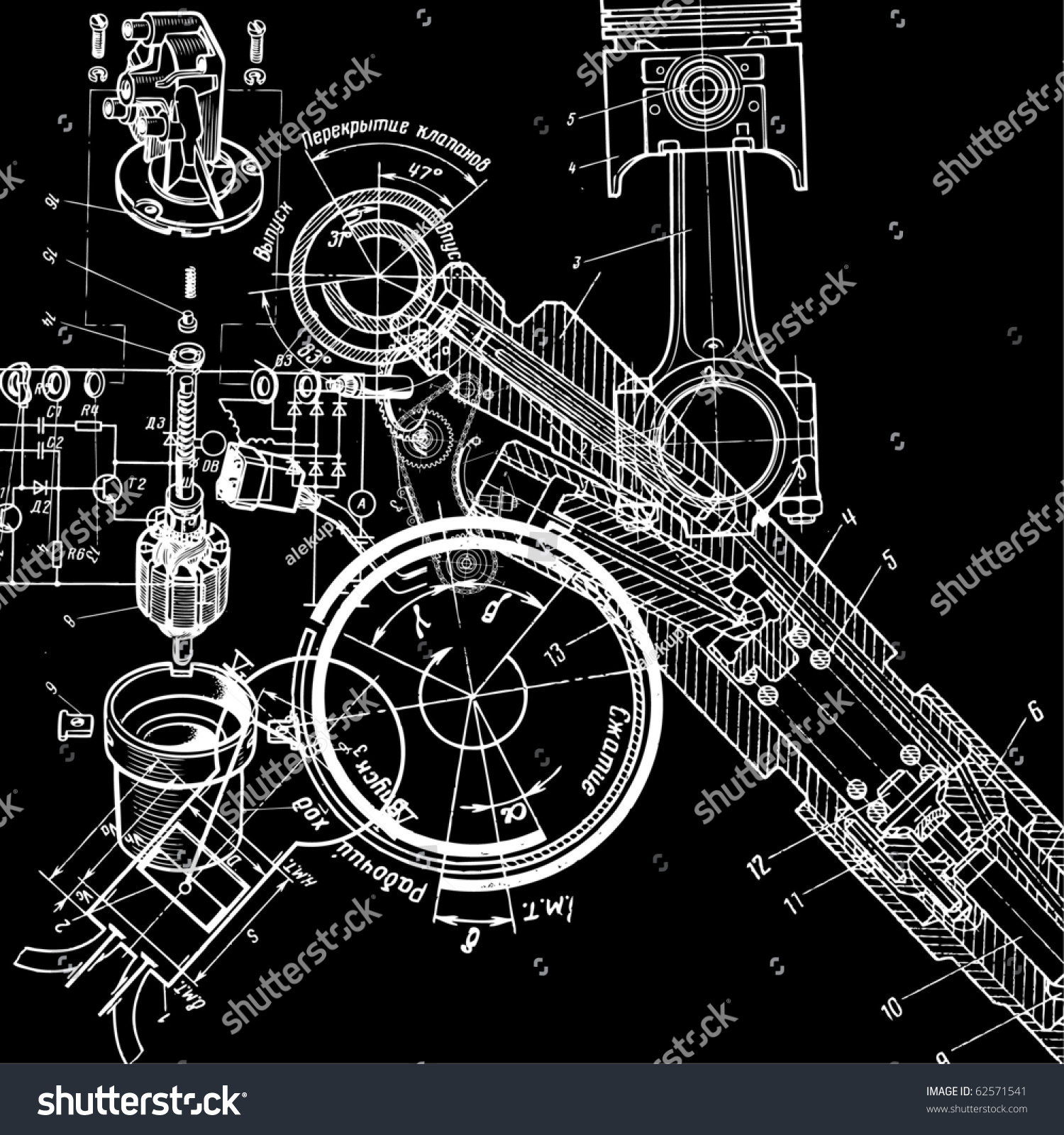 Technical Drawing Stock Vector Illustration 62571541
