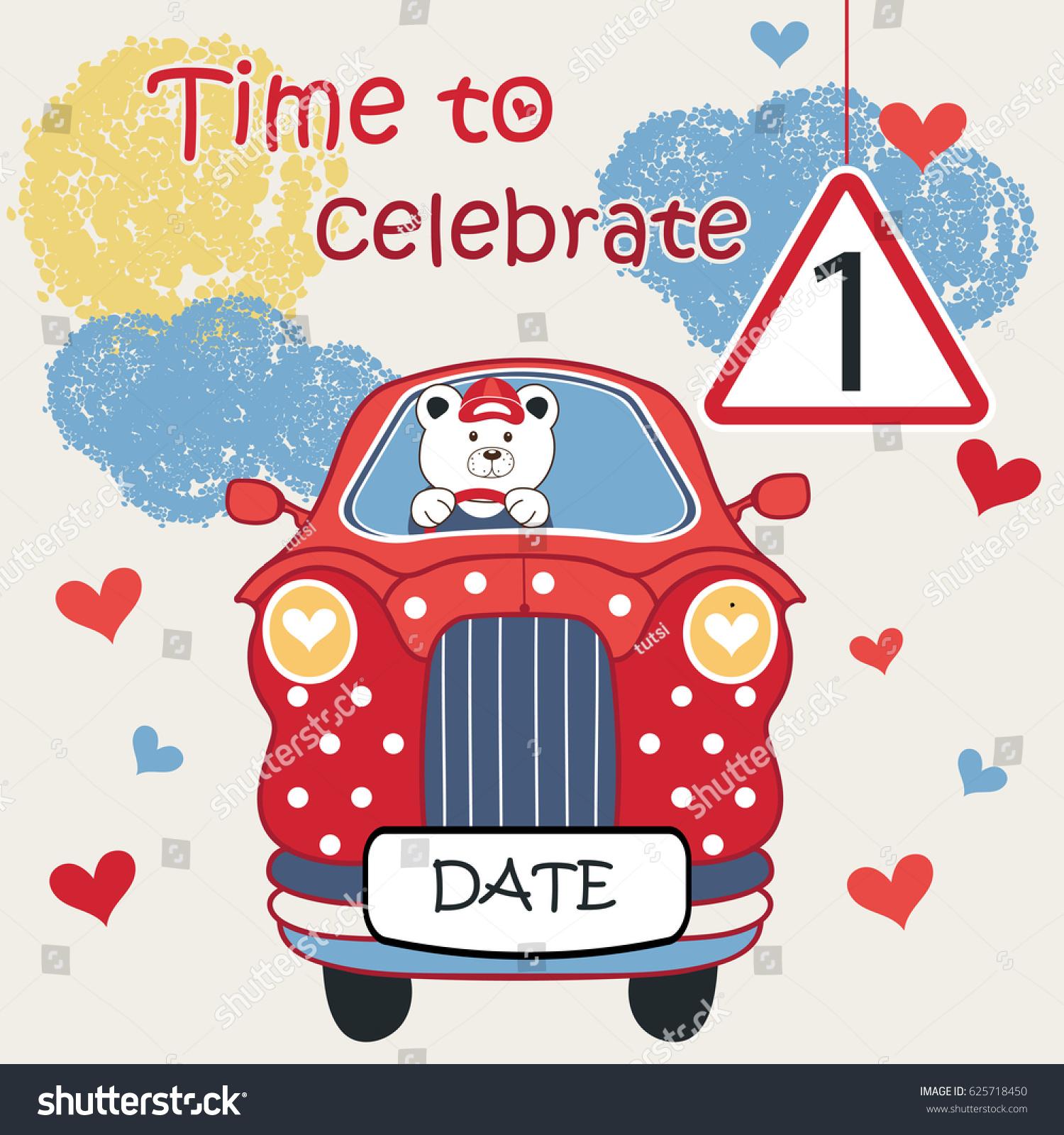 Baby Invitation Card Car Invitation Cards Stock Vector (Royalty Free ...