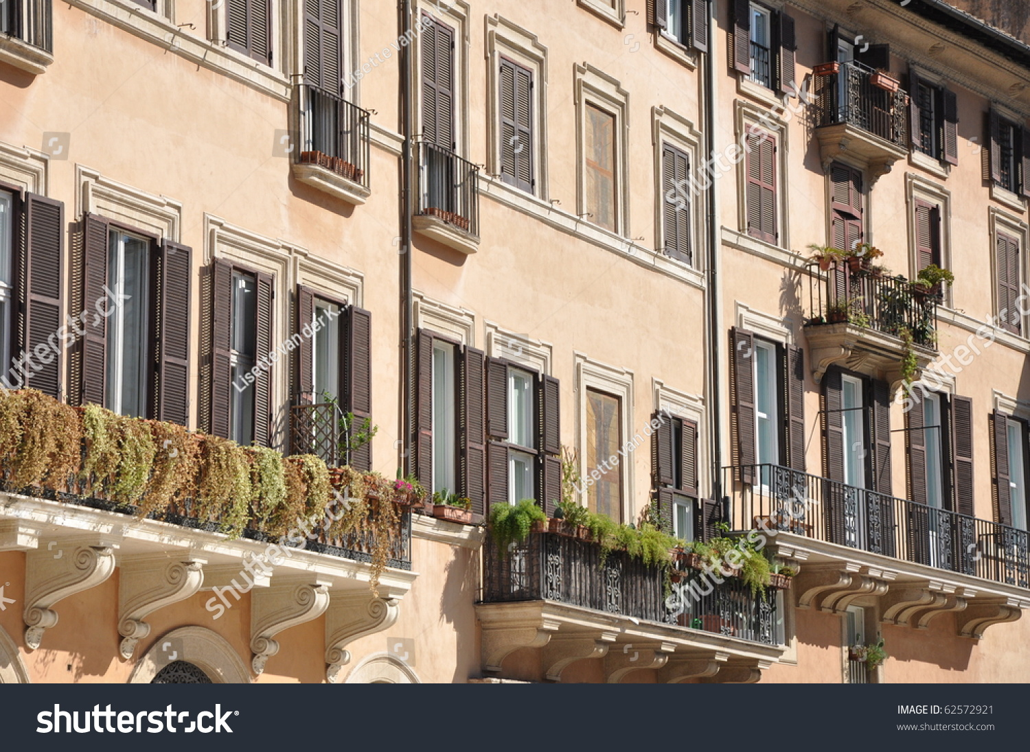 Italian balcony on piazza navona in rome stock photo for Balcony in italian