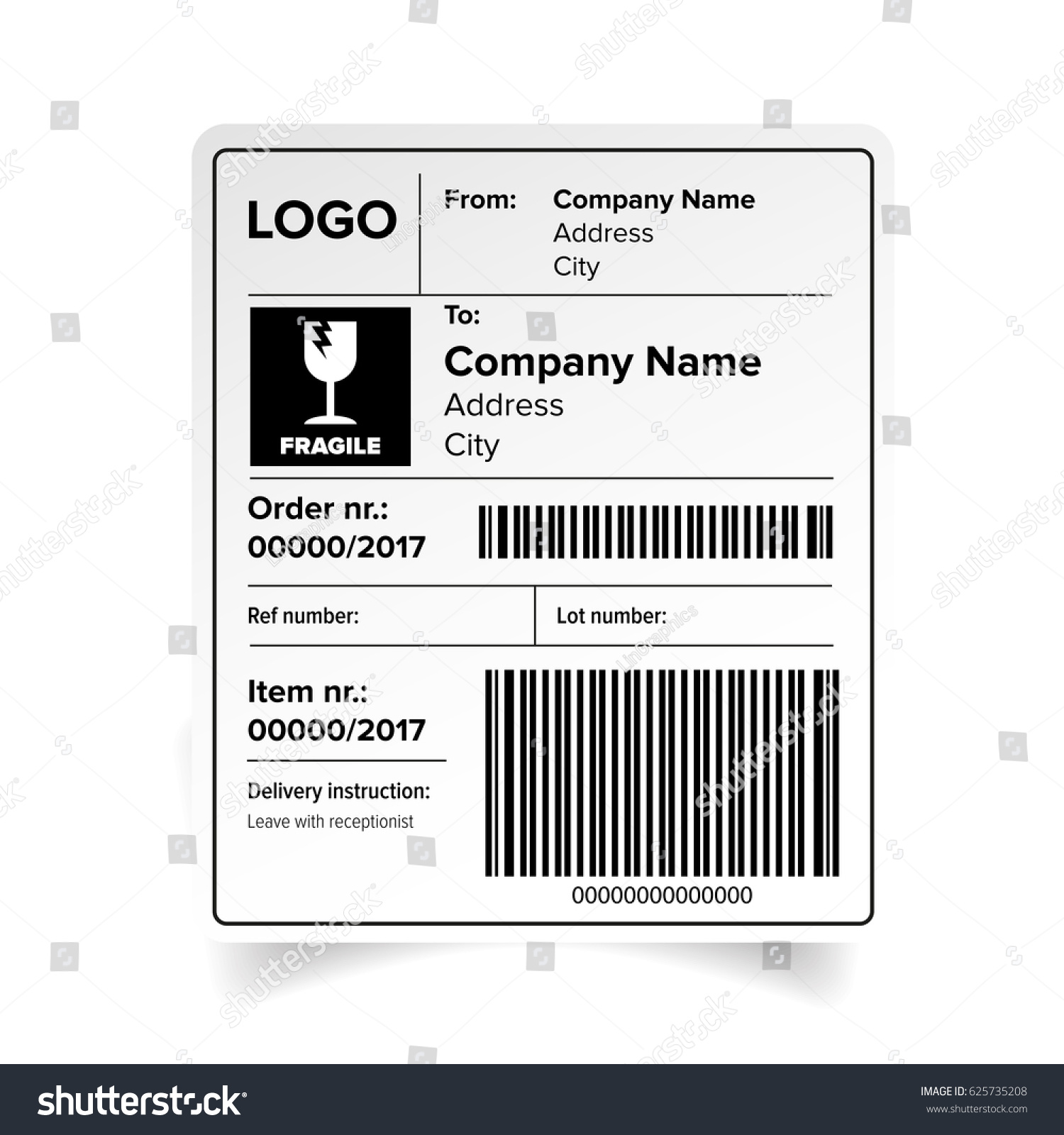 shipping label barcode template vector stock vector 625735208 shutterstock. Black Bedroom Furniture Sets. Home Design Ideas
