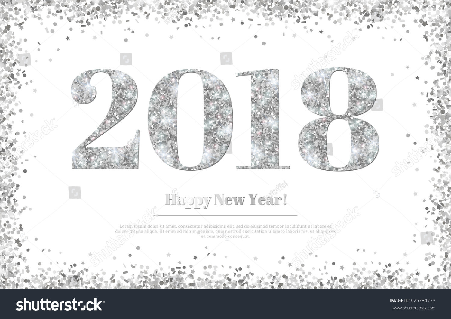 happy new year 2018 greeting card with silver numbers on white background vector illustration