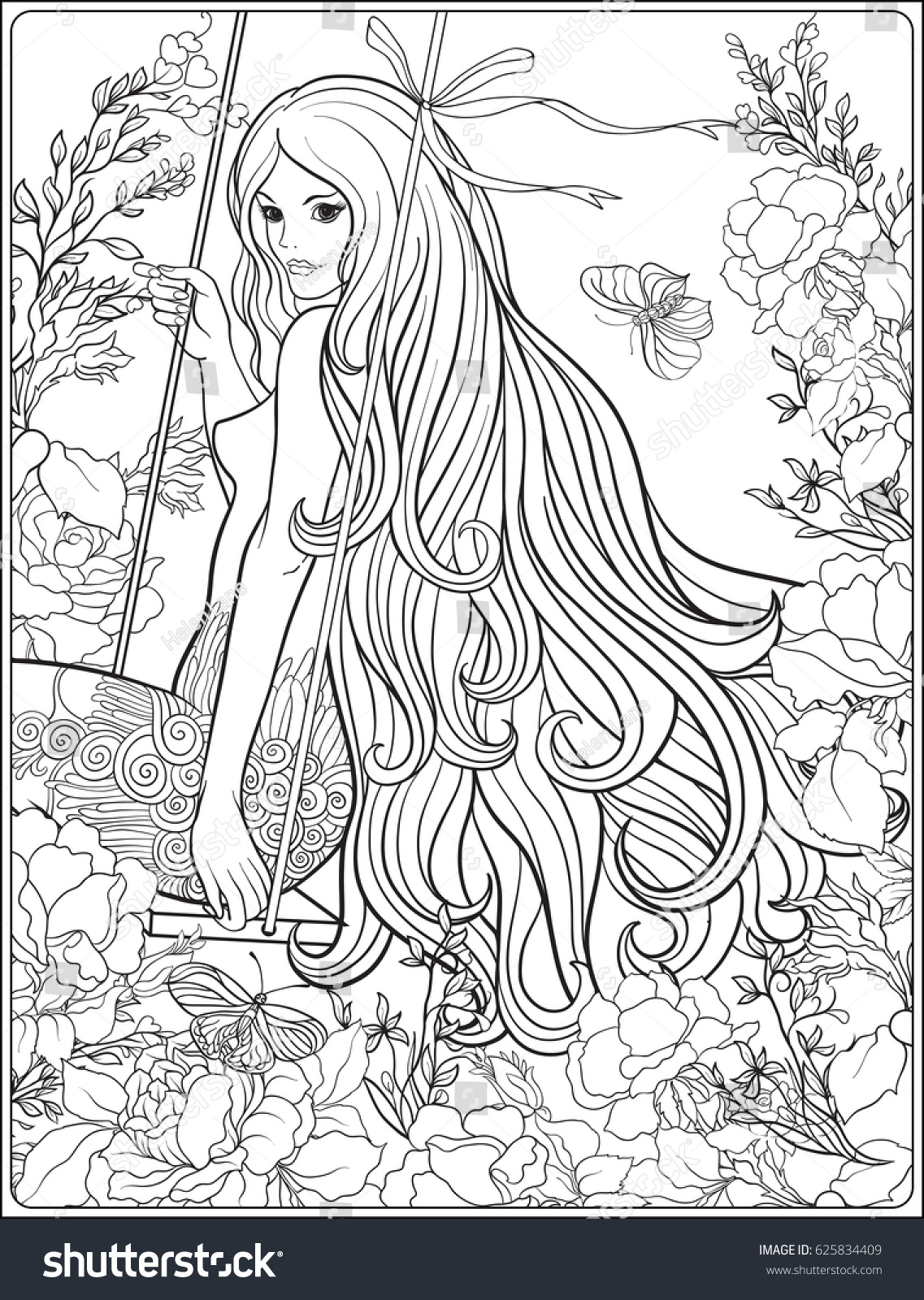 Young Beautiful Girl With Long Hair On Swing In Rose Garden Stock Line Vector Illustration