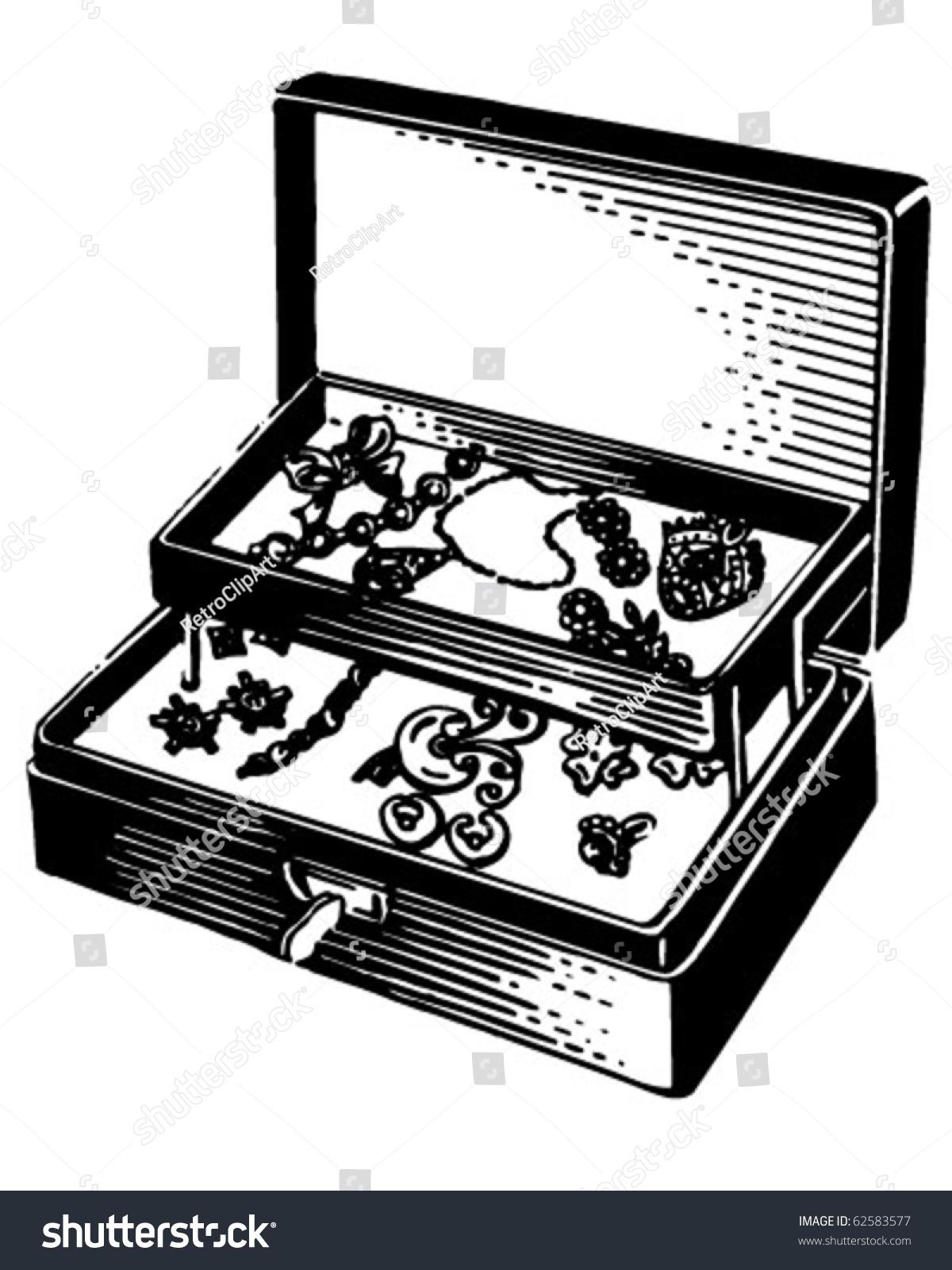 Silver Jewelry Box - Retro Clipart Illustration - 62583577 ...
