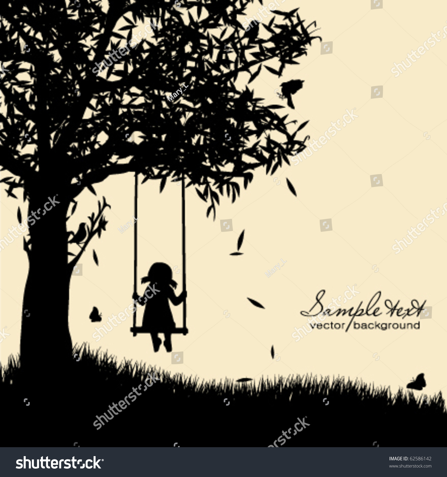 Vector Silhouette Girl...