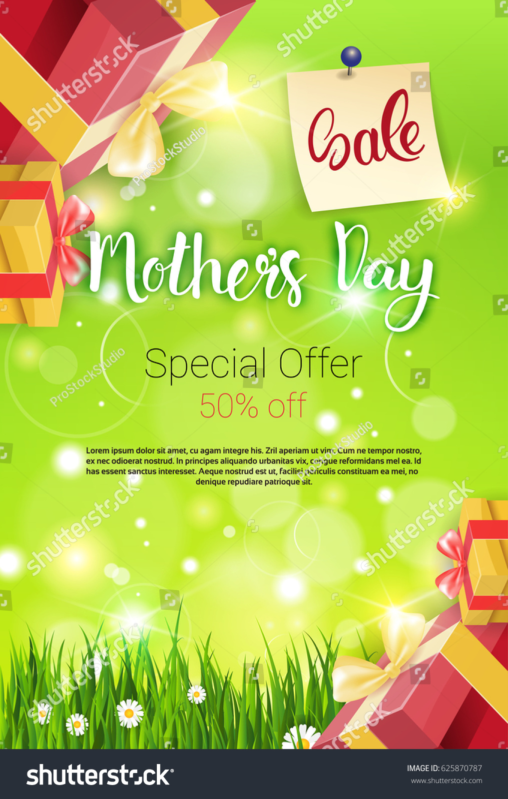 Shopping Sale Happy Mother Day Discount Stock Vector 625870787