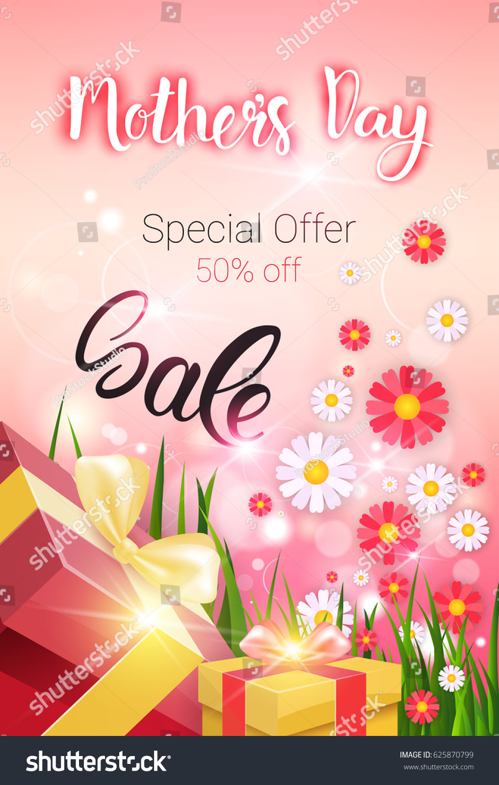 Shopping Sale Happy Mother Day Discount Stock Vector Royalty Free