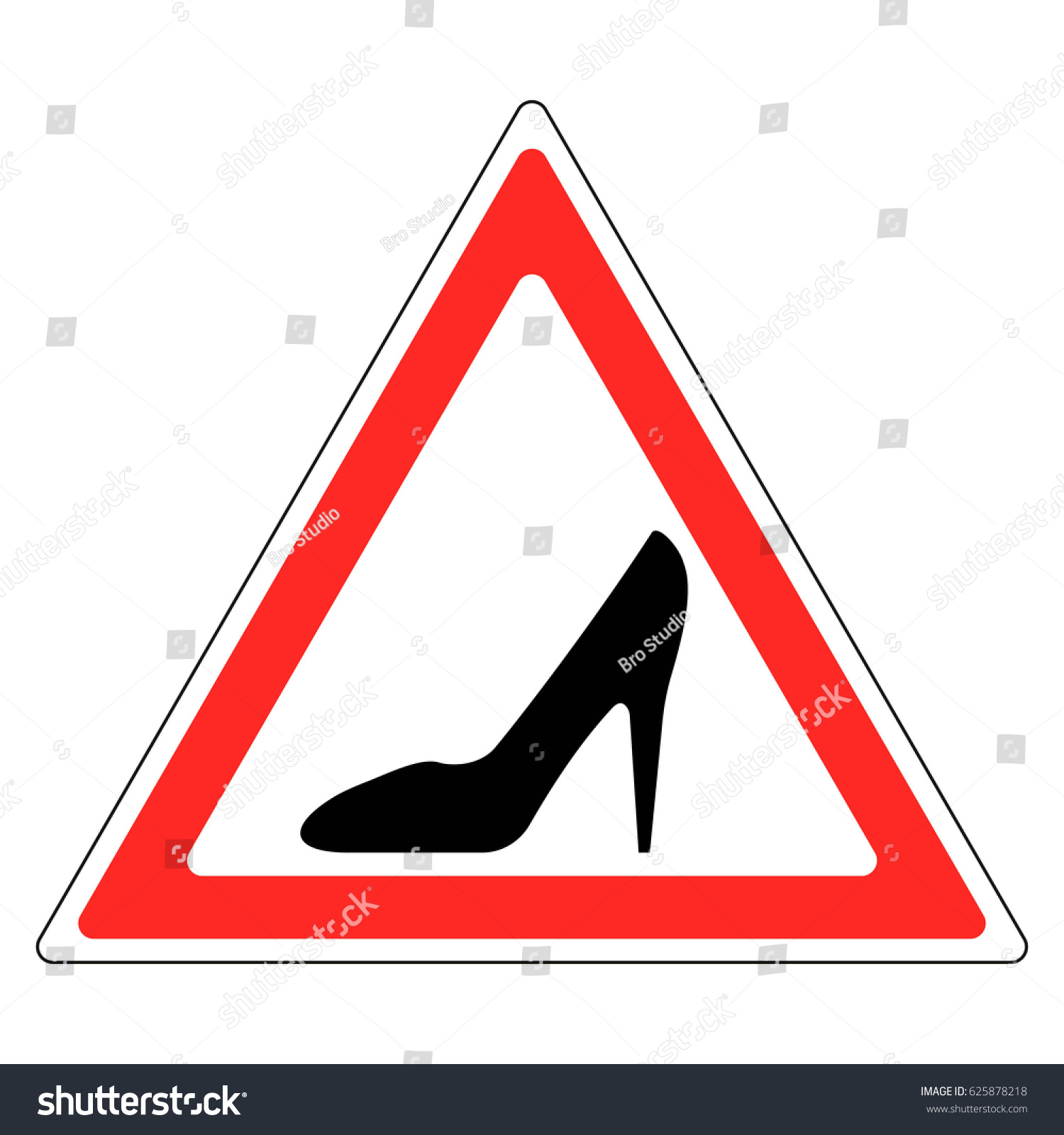 Sign woman shoe red triangle female stock vector 625878218 sign a woman shoe in a red triangle a female driving a car vector sticker buycottarizona