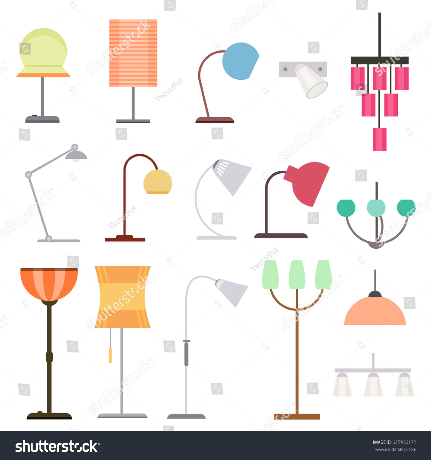 Colorful Indoor Lights Collection Different Kinds Stock Vector