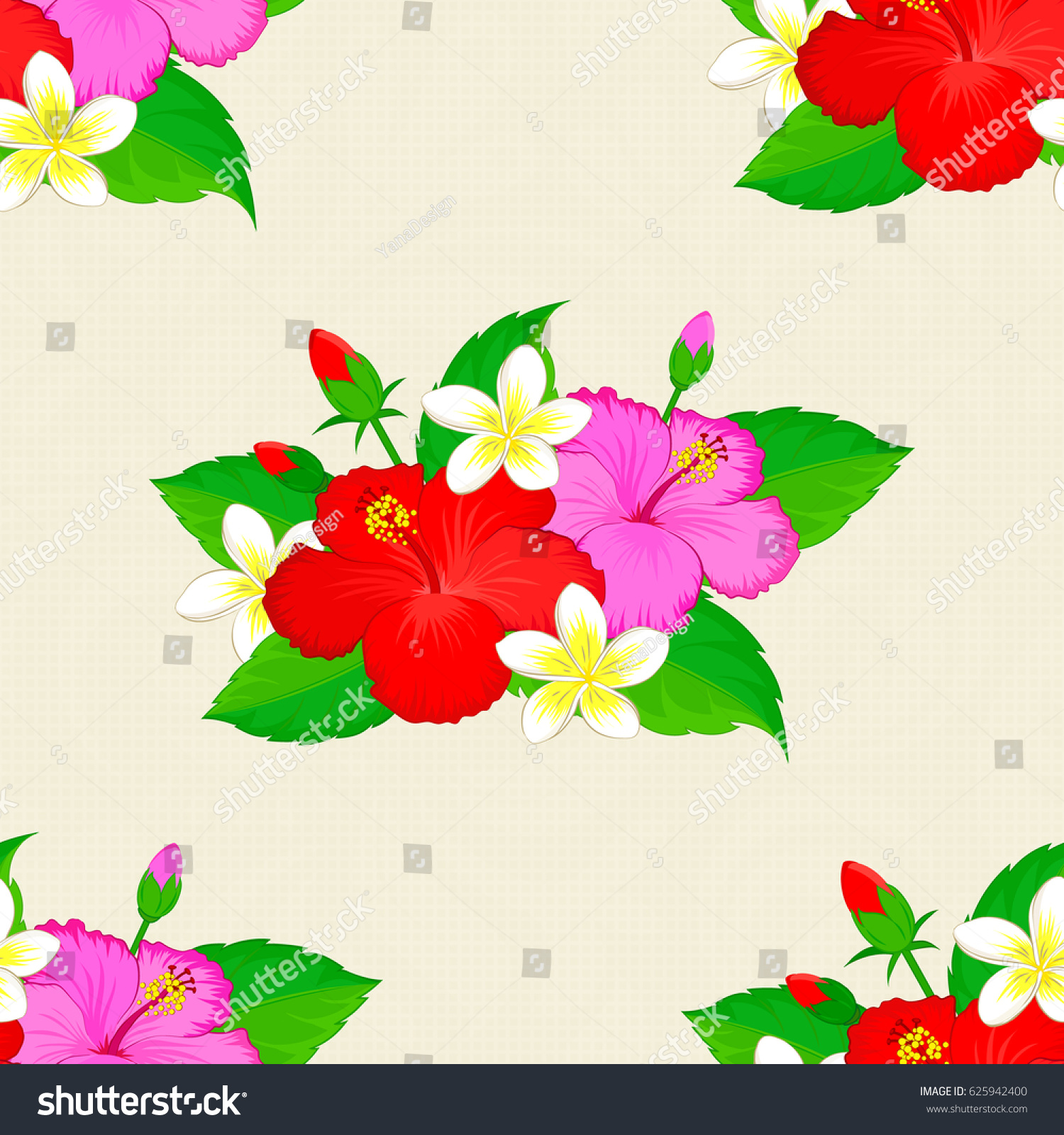 Floral Print Repeating Vector Hibiscus Flowers Stock Vector