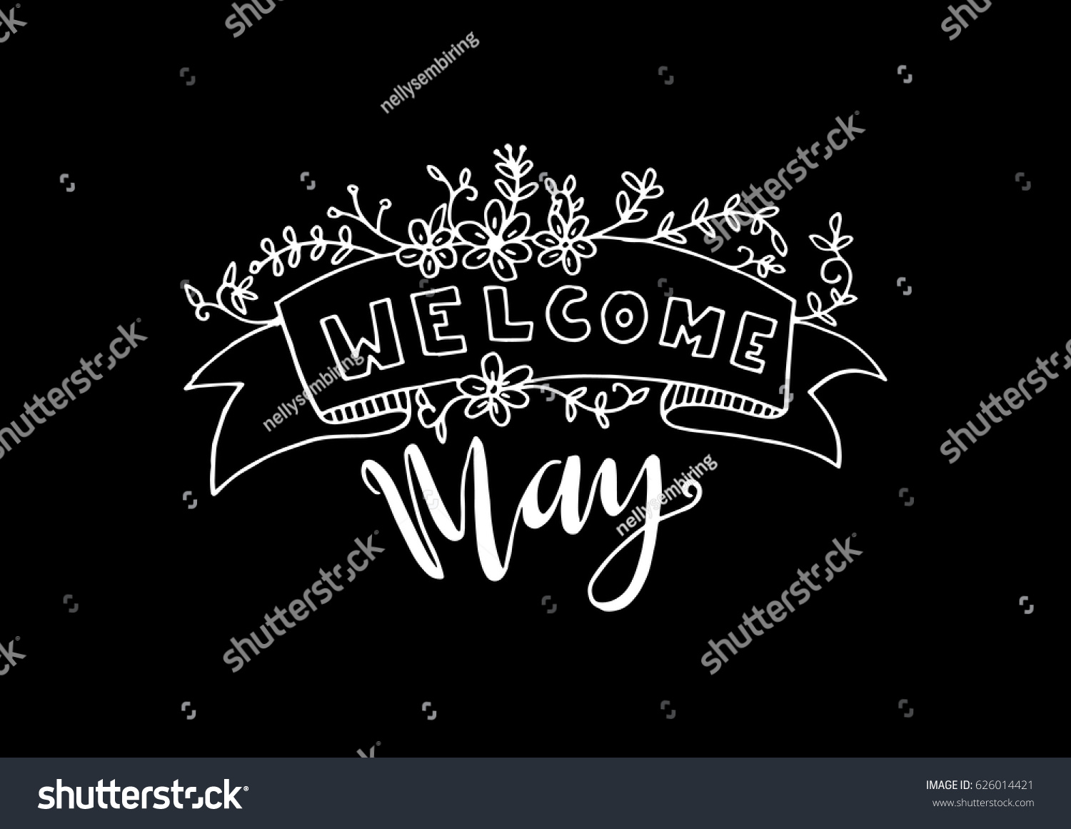Welcome may floral banner on black stock photo photo vector