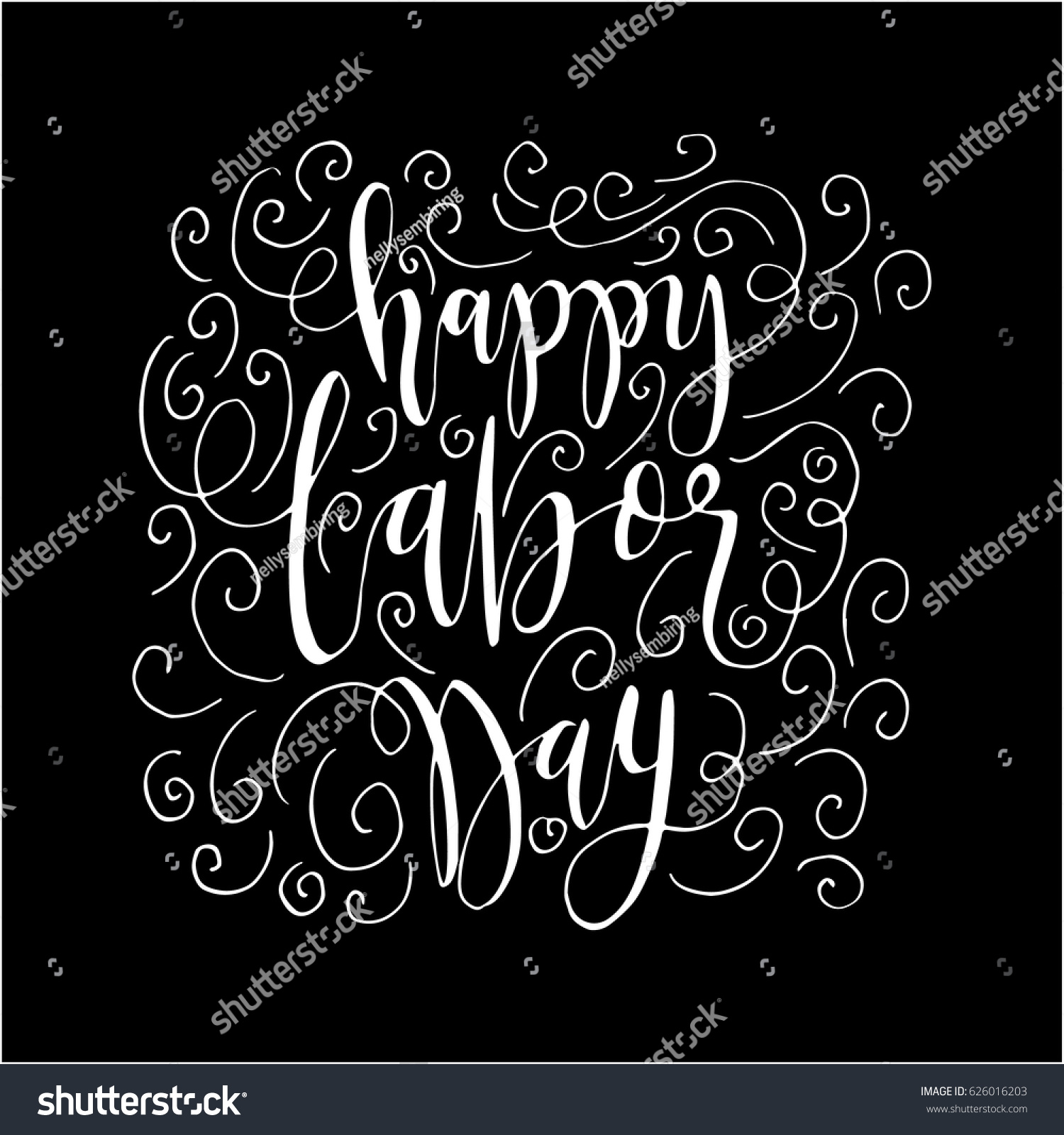 Happy labor day doodle on black stock vector