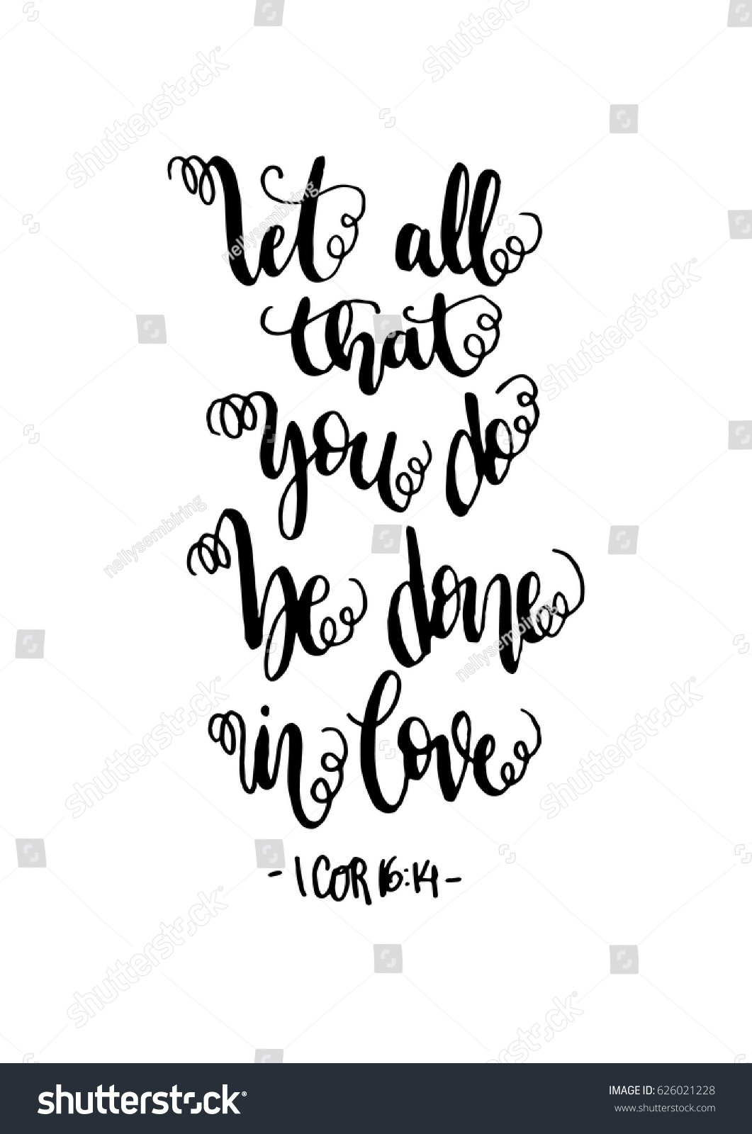 Bible Verses Love Quotes Be Done Love Hand Lettered Quote Stock Vector 626021228  Shutterstock