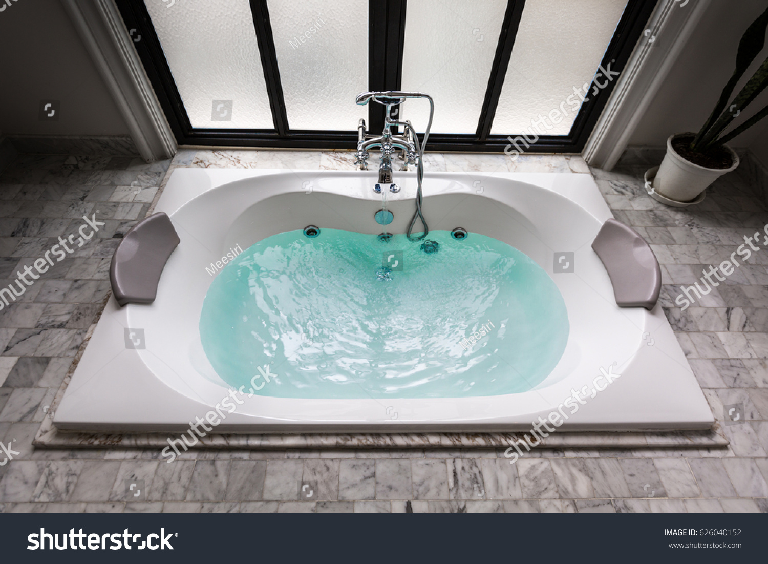 Jacuzzi Bath Tub On Marble Floor Stock Photo (Edit Now) 626040152 ...