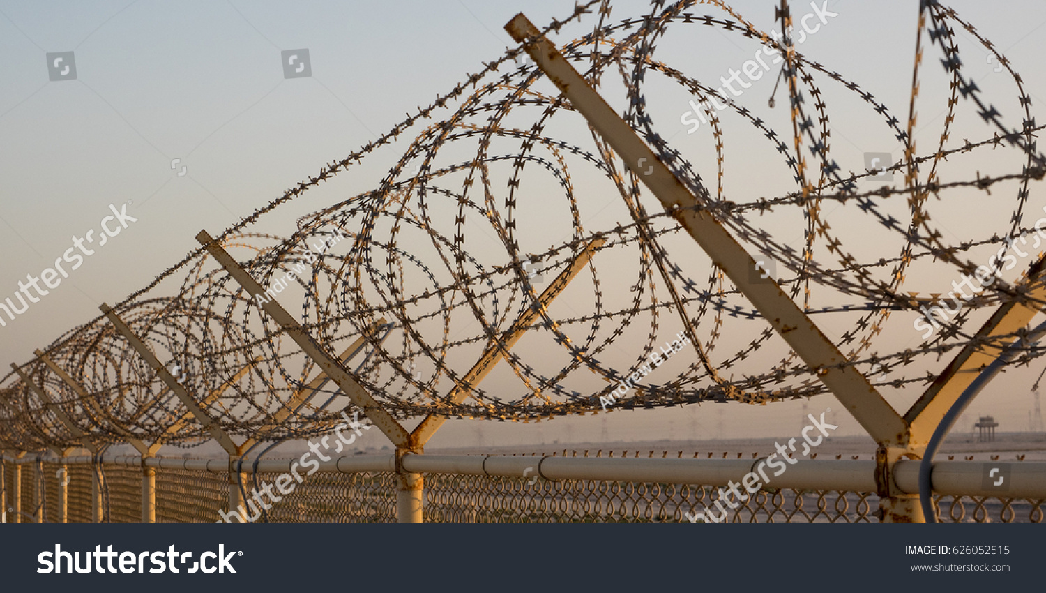 Concertina Wire Fence Middle Eastern Desert Stock Photo (Edit Now ...