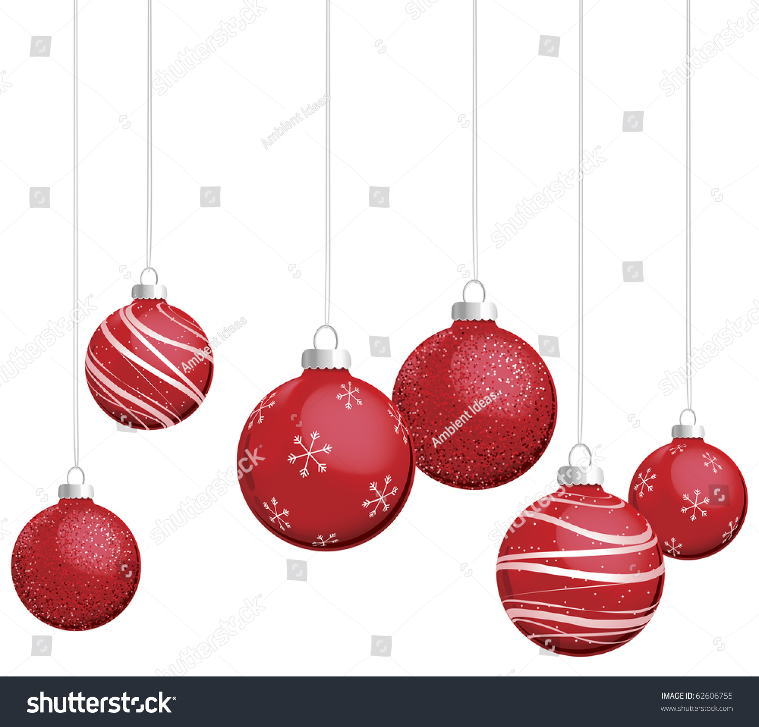 red christmas ornaments vector stock vector royalty free 62606755