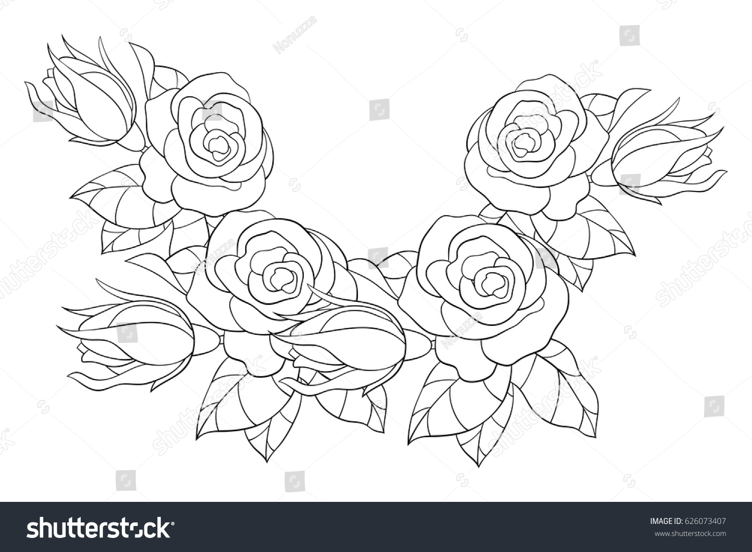 coloring page flowers leaves aa stock vector 626073407